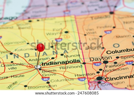 Indianapolis pinned on a map of USA  - stock photo