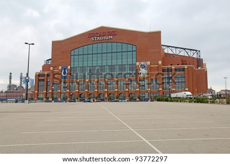 INDIANAPOLIS - SEPTEMBER 24: View of the entrance to Lucas Oil Stadium in Indianapolis, Indiana, on September 24, 2011. The stadium will be the venue for Super Bowl XLVI on February 5, 2012. - stock photo