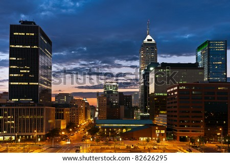 Indianapolis skyline at sunset. - stock photo