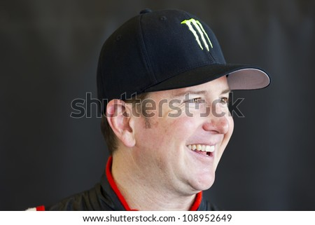 INDIANPOLIS, IN - JUL 28, 2012:  Kurt Busch (51) and prepare their car during a practice session for the Curtiss Shaver 400 at the Indianapolis Motor Speedway in Indianapolis, IN on Jul 28, 2012. - stock photo