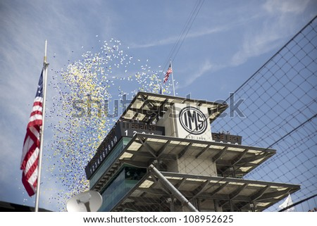 INDIANPOLIS, IN - JUL 29, 2012:  The NASCAR Sprint Cup Series take to the track for the Curtiss Shaver 400 at the Indianapolis Motor Speedway in Indianapolis, IN on Jul 29, 2012 - stock photo