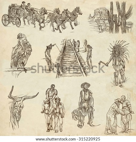 INDIANS and WILD WEST - Collection of an hand drawn illustrations. Description: Full sized hand drawn illustrations, original freehand sketches. Drawing on old paper.