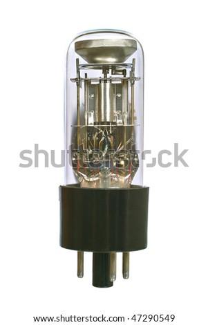 Indicator radio tube macro. Isolated image on white background - stock photo