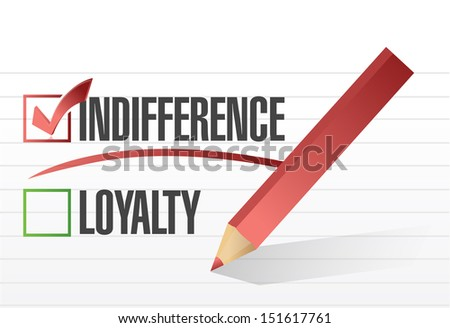 indifference selected illustration design over a notepad paper - stock photo