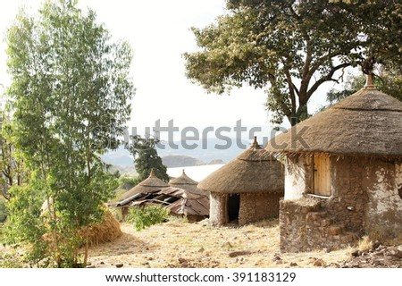Indigenous dwelling with straw roof in Lalibela, Ethiopia