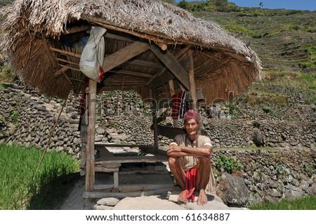 Indigenous senior citizen of the mountains in Southeast Asia. - stock photo