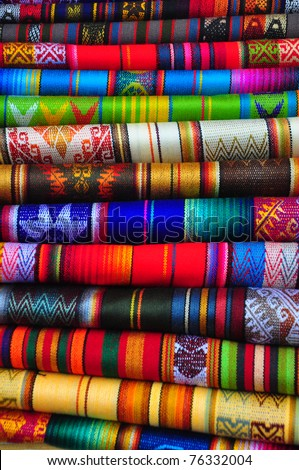 Indigenous textiles at craft market, Ecuador