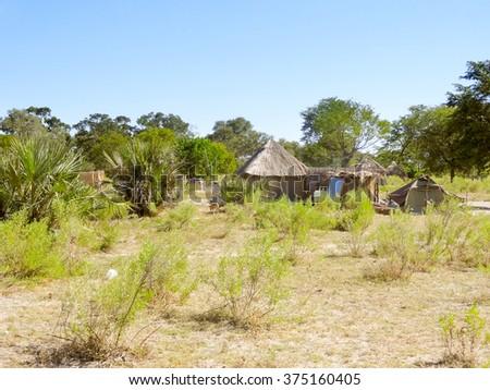 indigenous village at the Okavango Delta in Botswana, Africa - stock photo