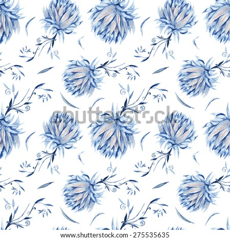 Indigo Floral Watercolor Pattern | Seamless royal renaissance artistic background with blue peony flowers on white - stock photo