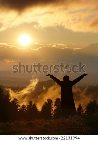 indistinguishable person on background of sunset, freedom and liberty, flash of insight - stock photo