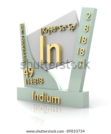 Indium form Periodic Table of Elements - 3d made