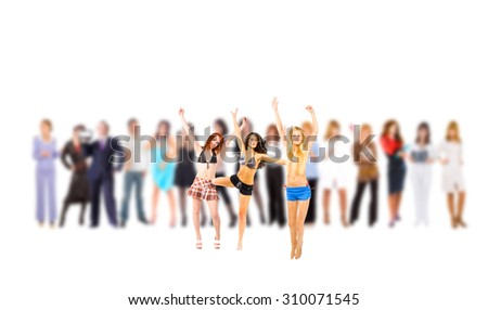 Individual and Crowd Me and Them  - stock photo