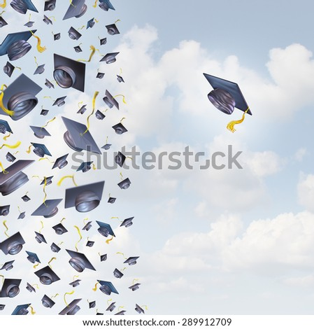 Individual education concept or individualized learning plan symbol as a group of mortar hats or graduation caps flying in the air and a single graduate hat flying in the opposite direction - stock photo