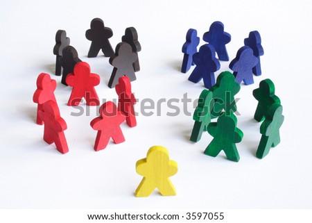 Individual figure looking where it belongs - stock photo