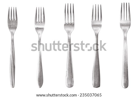 individual fork cutlery isolated - stock photo