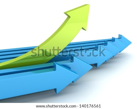 individual leader arrow grow up from other team - stock photo