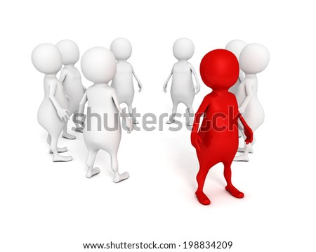 individual red 3d man standing out from crowd. leadership concept 3d render illustration - stock photo