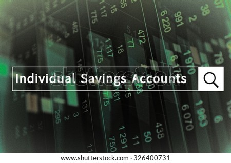 Individual savings accounts written in search bar with the financial data visible in the background. Multiple exposure photo. - stock photo