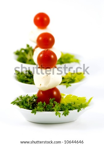 Individual serving of cherry tomatoes and mozzarella on cress salad and cellery - stock photo