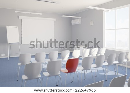 Individual training in seminar room with whiteboard and chairs - stock photo