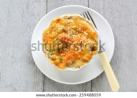 Individual tuna casserole made with gluten free penne pasta for a healthy meal - stock photo