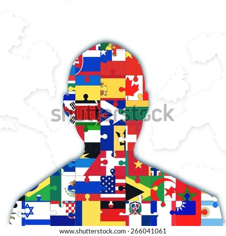 Individual with different flags symbol of integration - stock photo
