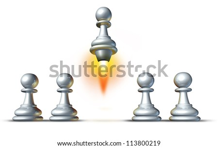 Individuality and success with a group of white pawns and a special member of the team rising up from the crowd with a rocket engine blasting upward with flames on a white background. - stock photo