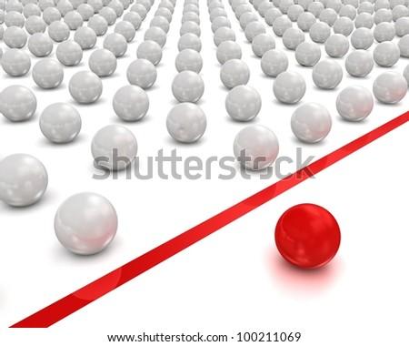 Individuality balls 3d render illustration - stock photo