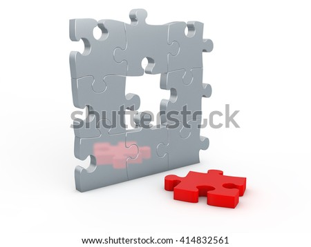 Individuality concept based on jigsaw puzzle. 3d illustration