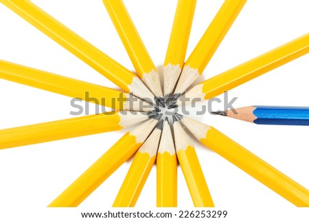 Individuality concept. Pencils close-up - stock photo