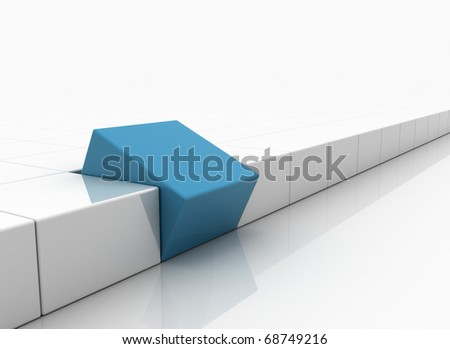 Individuality 3d render - blue box standing out - stock photo