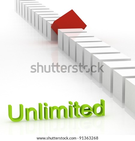 Individuality 3d render - red box standing out - stock photo