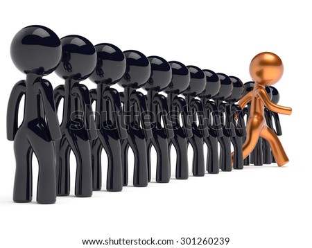 Individuality man unique different people character stand out from the crowd original brave think differ person otherwise run to new opportunities concept human resources icon 3d render isolated - stock photo