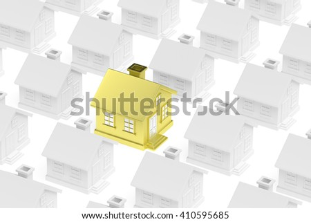 Individuality, uniqueness, real estate business creative concept - golden unique house standing out from crowd of gray ordinary houses 3d illustration. - stock photo