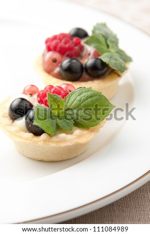 Indiviual freshly baked fruit tartlets with crisp golden crusts served on a plate for dessert