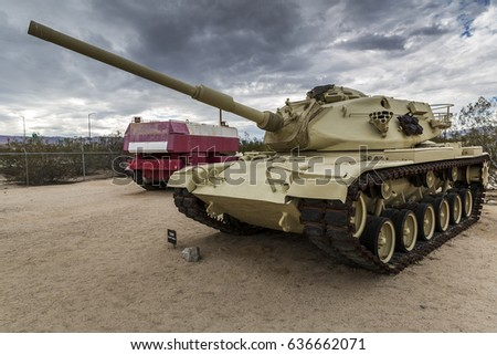 INDO, CA - NOV 20, 2016: Military vehicles, and memorbila on display at the General Patton Museum, in tribute to General Patton at the entrance to the Desert Training Center of WW II on Nov. 20, 2016