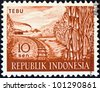 "INDONESIA - CIRCA 1960: A stamp printed in Indonesia from the ""Agricultural products"" issue shows sugar cane, circa 1960. - stock photo"