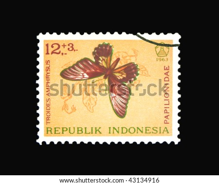 INDONESIA - CIRCA 1963: A stamp printed in Indonesia showing butterfly, circa 1963