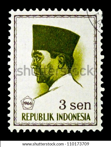 "INDONESIA-CIRCA 1966: A stamp printed in Indonesia shows a portrait of Suharno - first President of Indonesia (1945 - 1967), without the inscription, from the series ""President Suharno"", circa 1966"