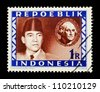 """INDONESIA-CIRCA 1947: A stamp printed in Indonesia shows two portraits - Sukarno and Washington with spelling """"Repoeblik"""", without inscription, from series """"Indonesian Vienna Issues"""", circa 1947 - stock photo"""