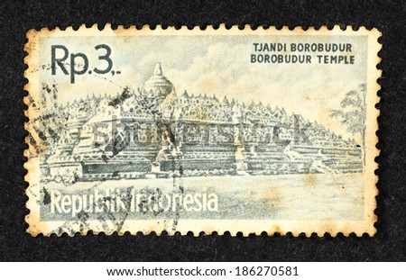 INDONESIA - CIRCA 1961: Blue color postage stamp printed in Indonesia with image of the ancient Borobudur Temple.