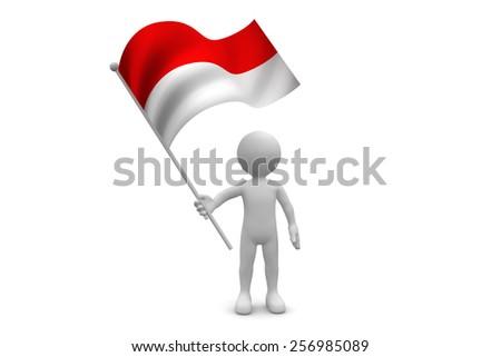 Indonesia Flag waving isolated on white background - stock photo