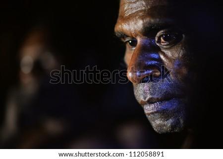 Asmat province jow village june 28 in twilight close up portrait