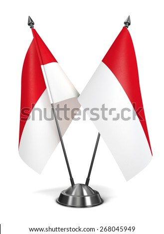 Indonesia - Miniature Flags Isolated on White Background. - stock photo