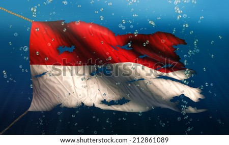 Indonesia Monaco Under Water Sea Flag National Torn Bubble 3D  - stock photo