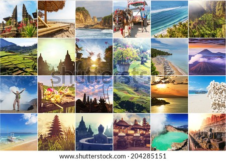 Indonesia theme collage - stock photo