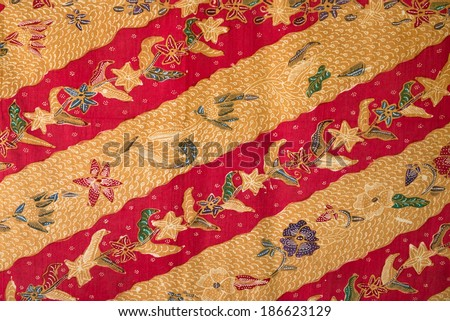 indonesian batik fabric - stock photo