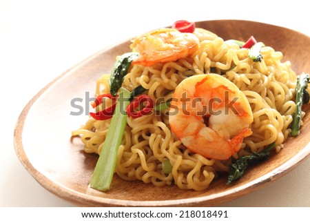 indonesian fried noodles mie goreng, mi goreng, - stock photo