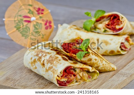 Indonesian kebab, small rolls size,grilled beef meat - stock photo