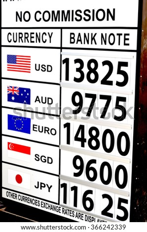 Indonesian Rupiah foreign currency exchange rates in Bali - stock photo